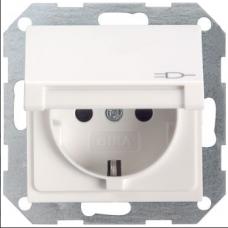 Gira System55 dugaszoló aljzat csapfedeles matt fehér